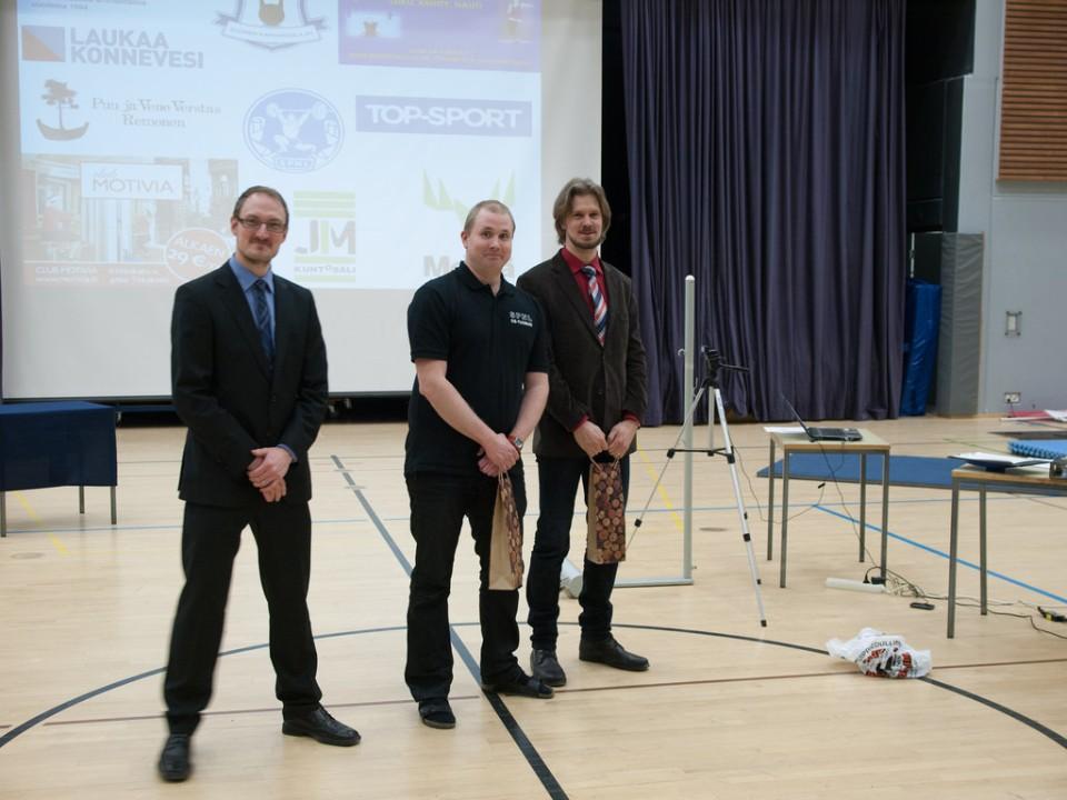 Tomi Tolsa, Teemu Jokela ja Marko Suomi. Laukaa Biathlon SM 2014. Kuvaaja Juhana Suhonen